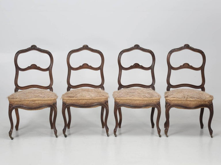 Set of Six Carved French Antique Living Room or Parlor Chairs For Sale 3