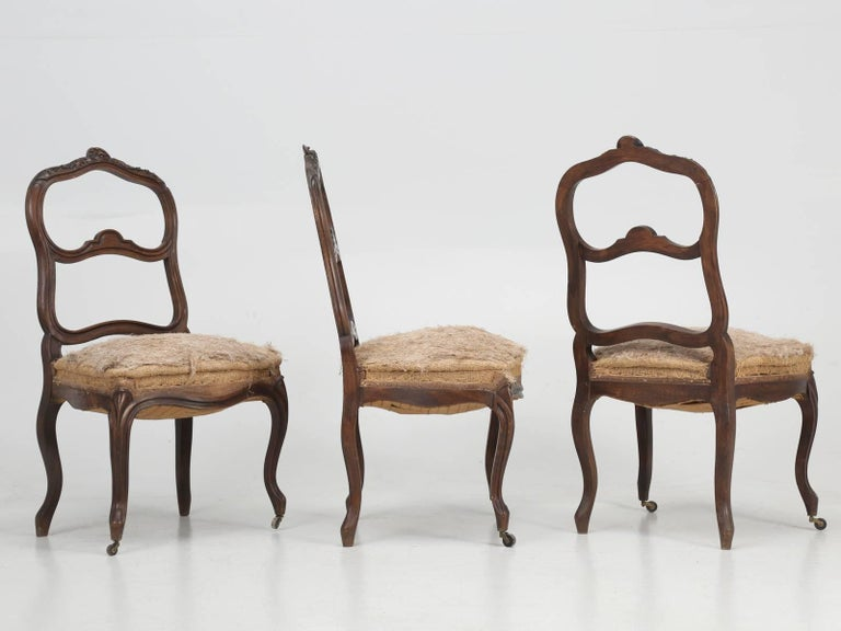 Set of Six Carved French Antique Living Room or Parlor Chairs For Sale 4