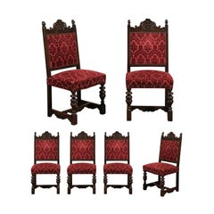 Set of Six Carved Oak Chairs from the Black Forest