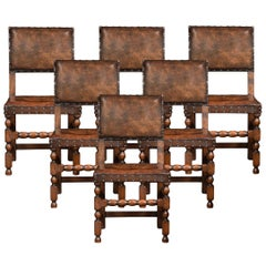Set of Six Carved Oak Dining Chairs
