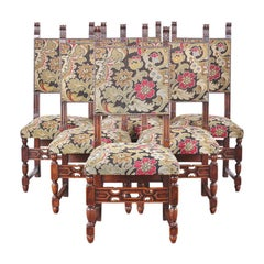 Set of Six Carved Oak Flemish Dining Chairs