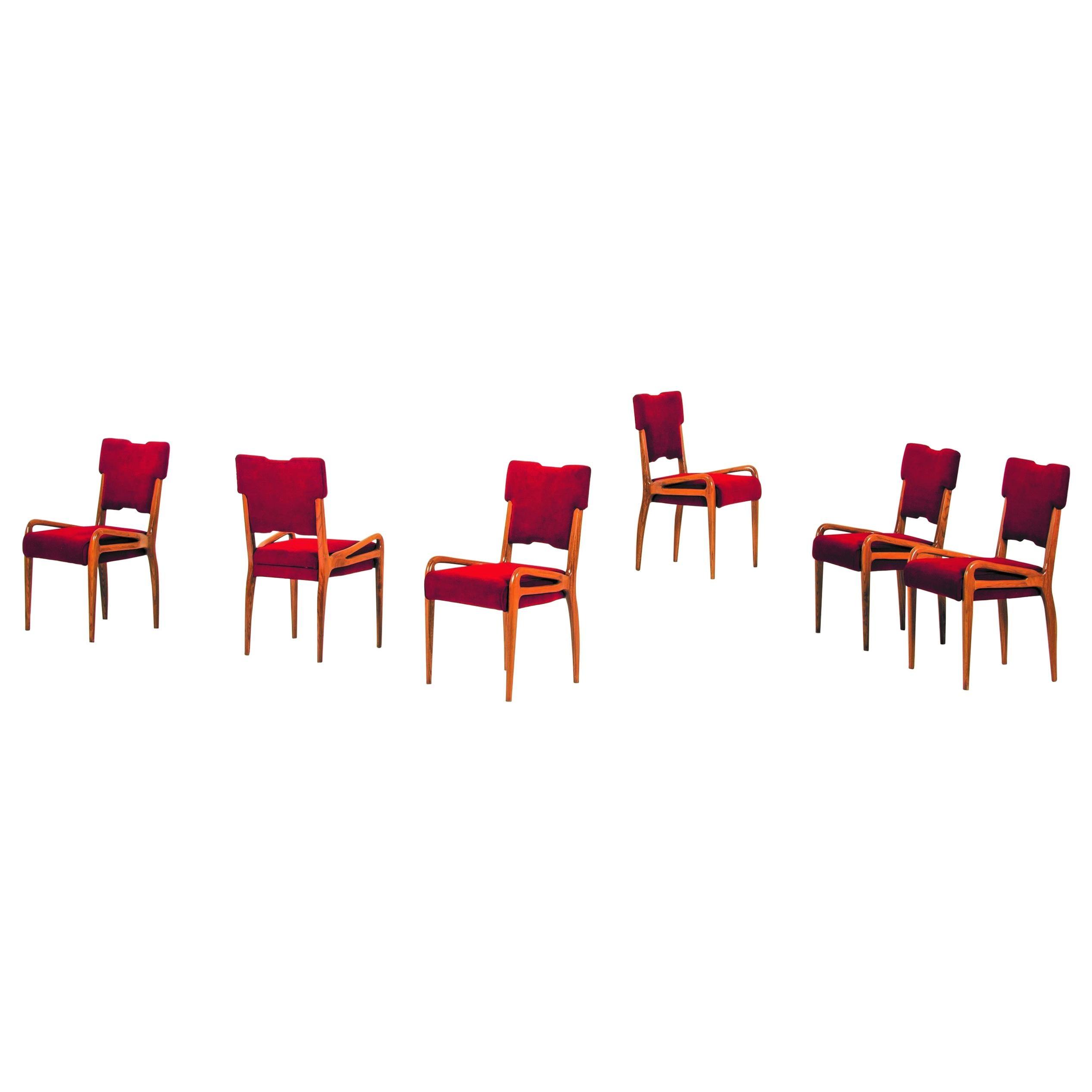Set of Six Cassina Dining Chairs by Farina Morez Ruggero, Italy, circa 1952