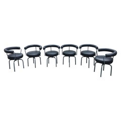 Set of Six Cassina Swivel Arm Chairs LC7 by Le Corbusier, Perriand & Jeanneret