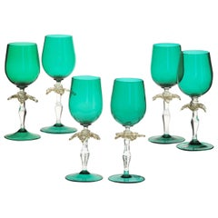 Set of Six Cenedese Green Stemmed Glass with Gold Palm Design, Murano, Signed