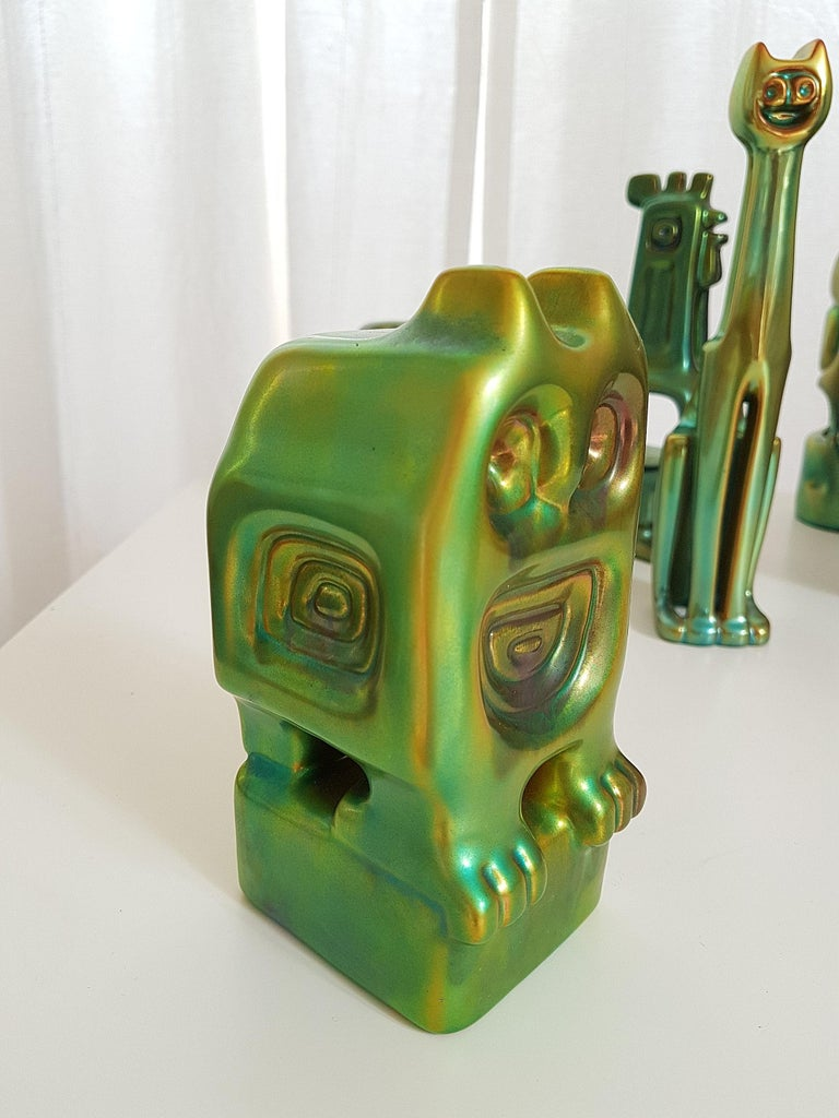 Set of Six Ceramic Green Eosin Figures by Zsolnay, with 1960s Stamps For Sale 3