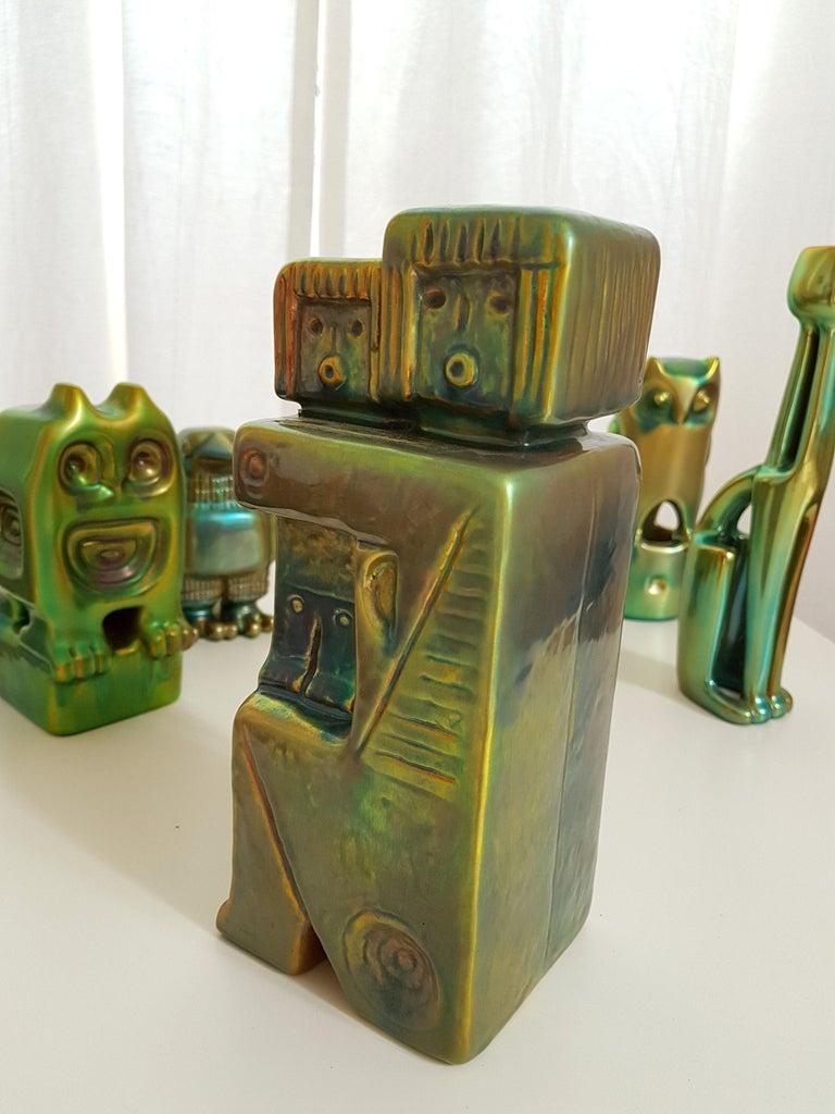 Set of Six Ceramic Green Eosin Figures by Zsolnay, with 1960s Stamps For Sale 4