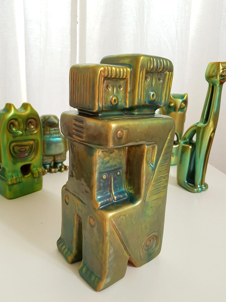 Set of Six Ceramic Green Eosin Figures by Zsolnay, with 1960s Stamps For Sale 5