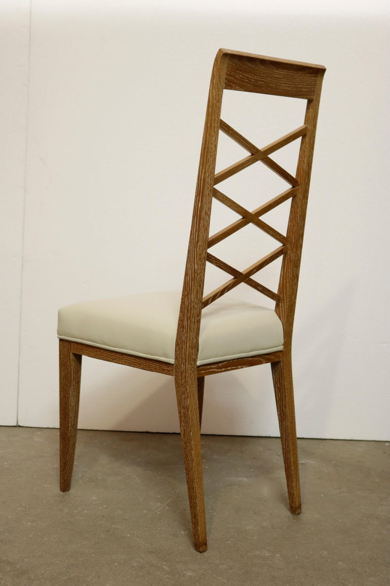 Mid-Century Modern Set of Six Cerused Oak Chairs in the Manner of Jacques Adnet For Sale
