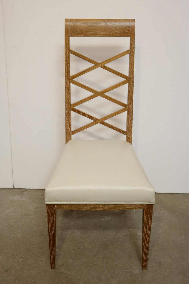 French Set of Six Cerused Oak Chairs in the Manner of Jacques Adnet For Sale