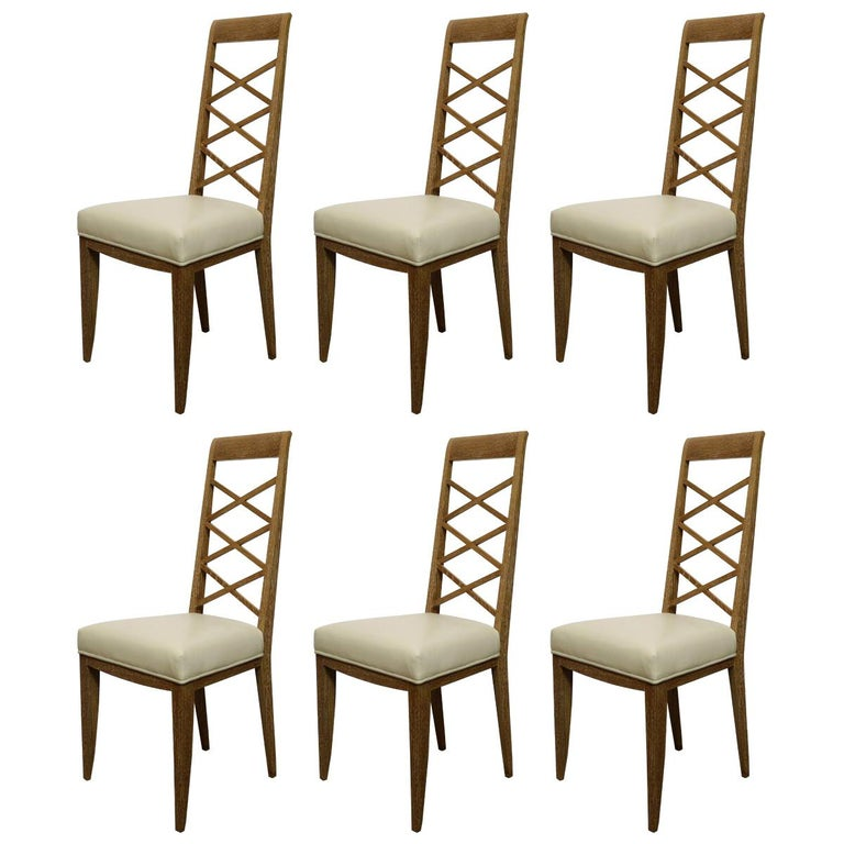 Set of Six Cerused Oak Chairs in the Manner of Jacques Adnet For Sale