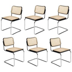 "Mid-Century Original GAVINA italian Set of six ""Cesca"" Chairs by M. Breuer 1960s"