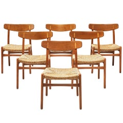 Set of Six 'CH23' Chairs by Hans J. Wegner in Beech and Teak