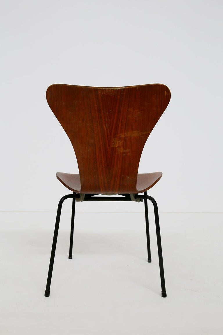 Mid-Century Modern Set of Six Chairs by Arne Jacobsen M. Butterfly for the Brazilian Airline, 1950s For Sale