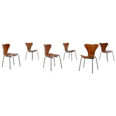 Set of Six Chair by Arne Jacobsen M. Butterfly for the Brazilian Airline, 1950s