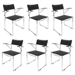 Set of Six Chair with Armrests in Steel and Leather Stackable Italian by Belotti