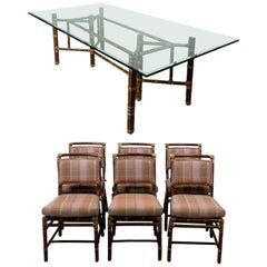 Set of Six Chairs and Dining Room Table by McGuire