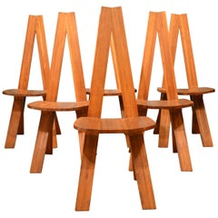 Set of Six Chairs by Chairs by Pierre Chapo