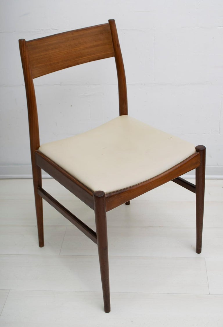 Set of Six Chairs by Gianfranco Frattini Teak Vintage, Italy, 1960s In Good Condition For Sale In Cerignola, Italy Puglia