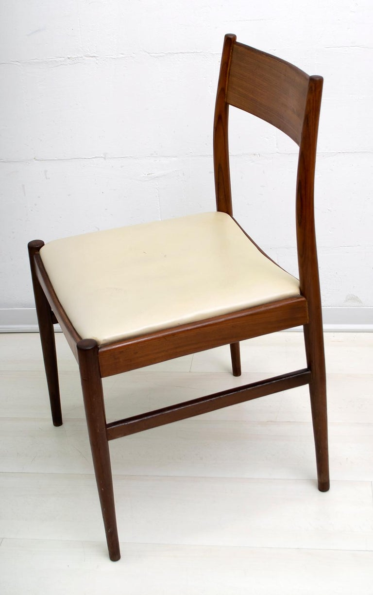 Mid-20th Century Set of Six Chairs by Gianfranco Frattini Teak Vintage, Italy, 1960s For Sale