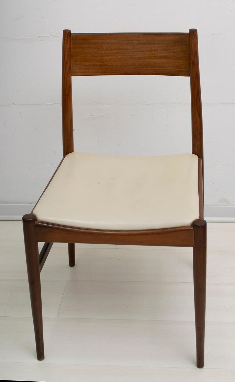 Faux Leather Set of Six Chairs by Gianfranco Frattini Teak Vintage, Italy, 1960s For Sale