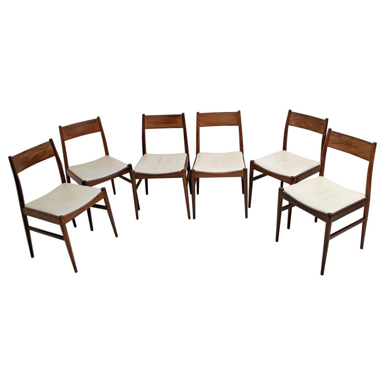 Set of Six Chairs by Gianfranco Frattini Teak Vintage, Italy, 1960s For Sale