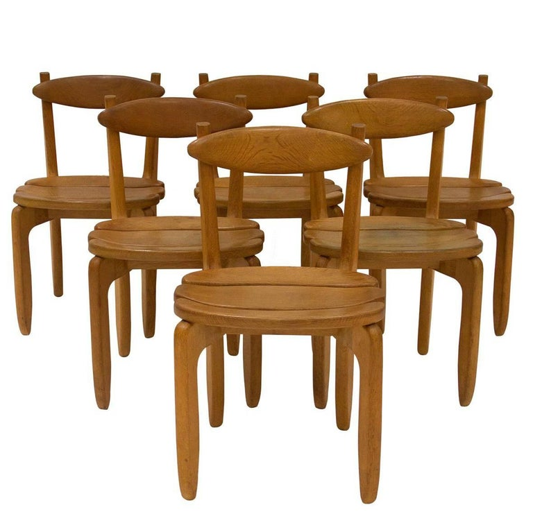 Set of Six Chairs by Guillerme et Chambron for Votre Maison, circa 1970, France