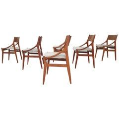 Set of Six Chairs by H. Vestervig Eriksen for BRDR Tromborg, Denmark, 1955