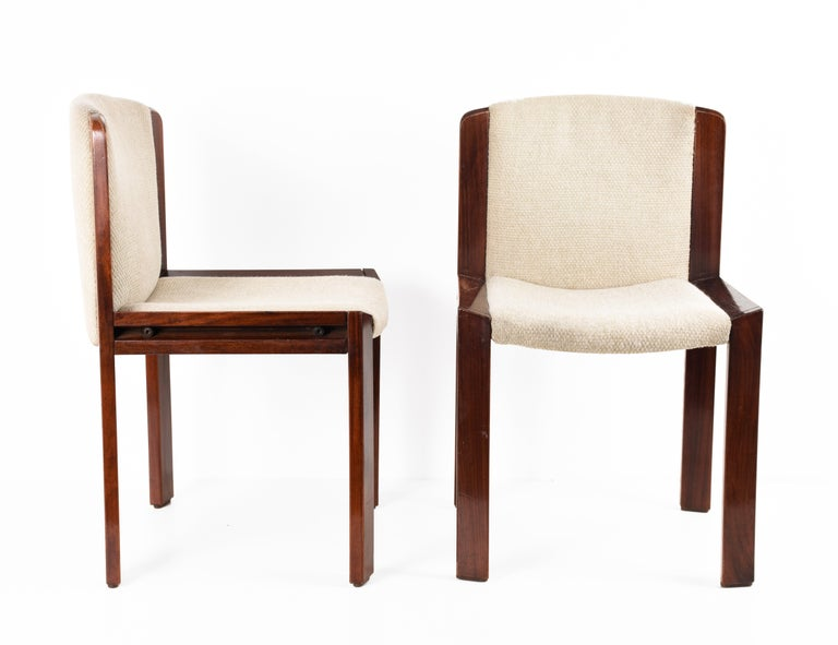Set of Six Chairs by Joe Colombo for Pozzi, Solid wood, Italy 1965s For Sale 7