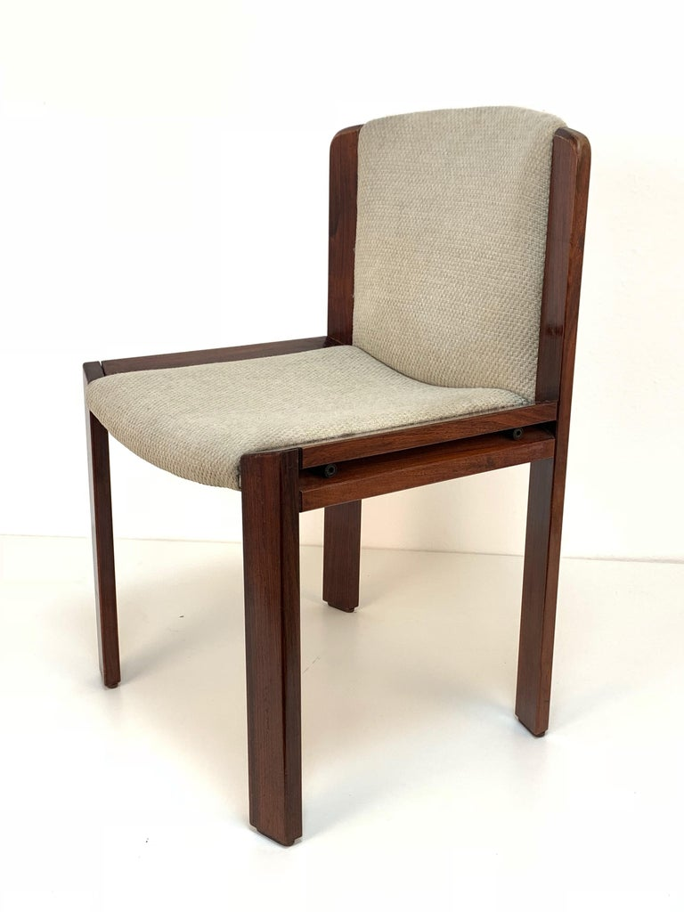 Set of Six Chairs by Joe Colombo for Pozzi, Solid wood, Italy 1965s For Sale 8