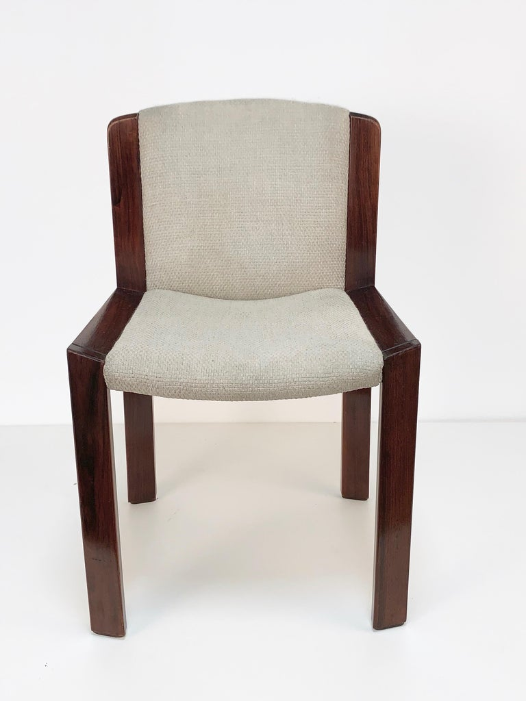 Set of Six Chairs by Joe Colombo for Pozzi, Solid wood, Italy 1965s For Sale 9
