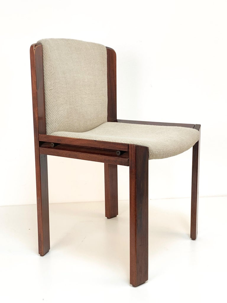 Set of Six Chairs by Joe Colombo for Pozzi, Solid wood, Italy 1965s For Sale 11