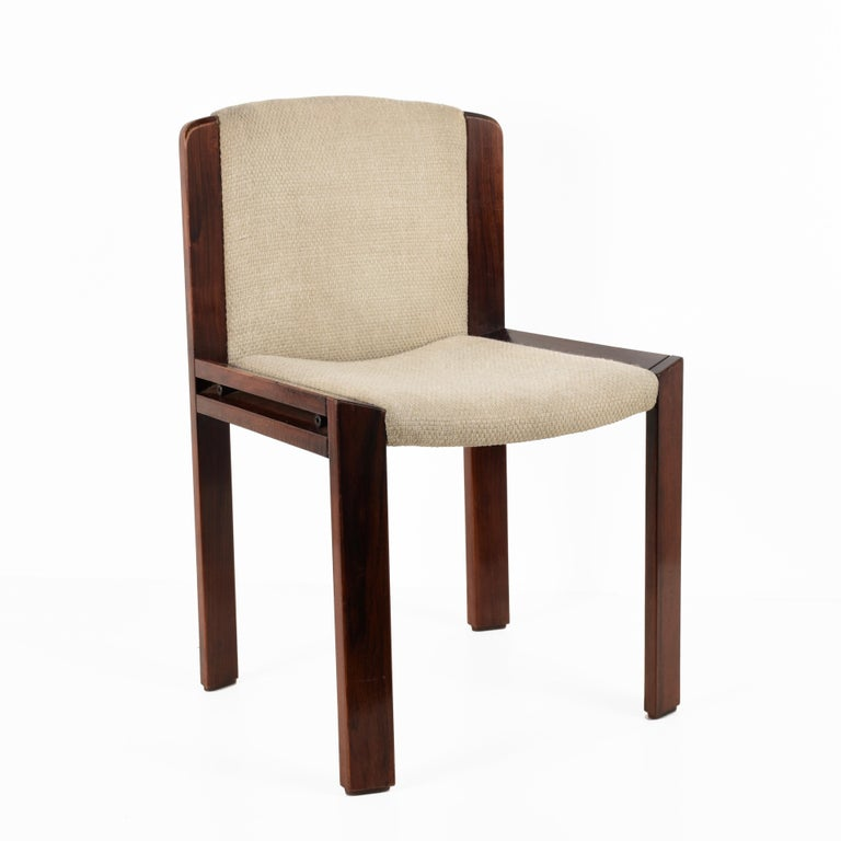 Mid-Century Modern Set of Six Chairs by Joe Colombo for Pozzi, Solid wood, Italy 1965s For Sale
