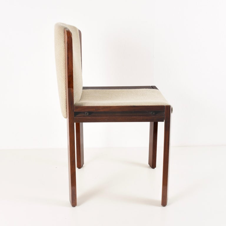 Italian Set of Six Chairs by Joe Colombo for Pozzi, Solid wood, Italy 1965s For Sale