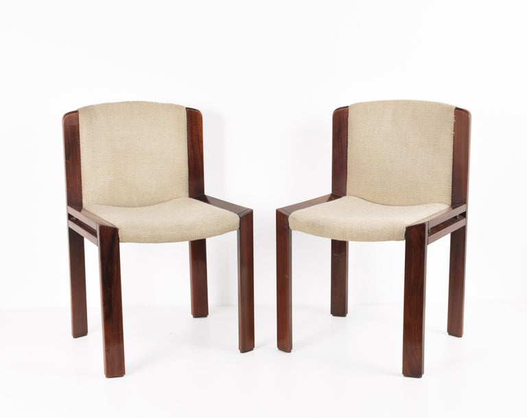 Cotton Set of Six Chairs by Joe Colombo for Pozzi, Solid wood, Italy 1965s For Sale