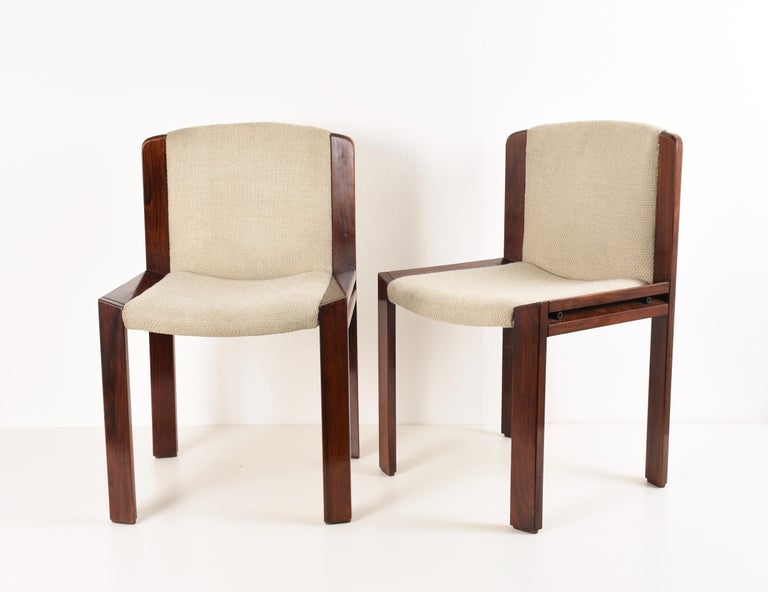 Set of Six Chairs by Joe Colombo for Pozzi, Solid wood, Italy 1965s For Sale 1