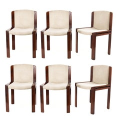 Set of Six Chairs by Joe Colombo for Pozzi, Solid wood, Italy 1965s