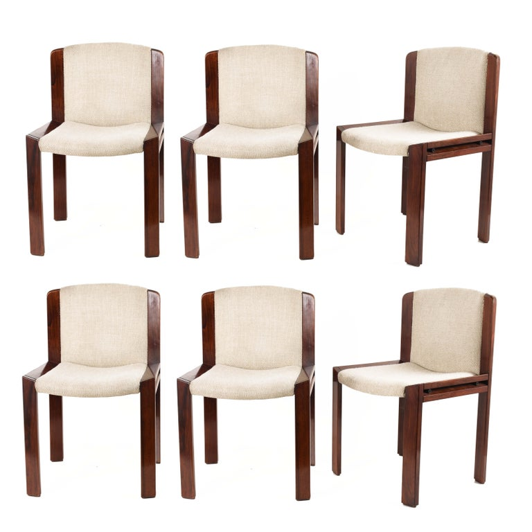 Set of Six Chairs by Joe Colombo for Pozzi, Solid wood, Italy 1965s For Sale