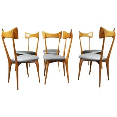 Set of Six Chairs by Luisa & Ico Parisi, Colombo Cantú, Italy, 1945