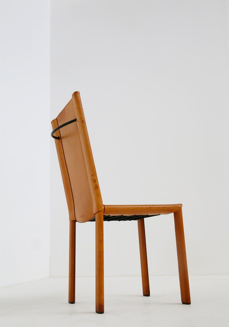 Modern Set of Six Chairs by Matteograssi in Leather Model