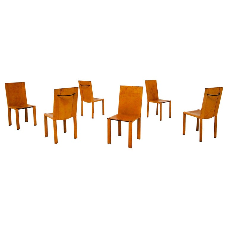 """Set of Six Chairs by Matteograssi in Leather Model """"Carol"""" from 1980s, Italy For Sale"""