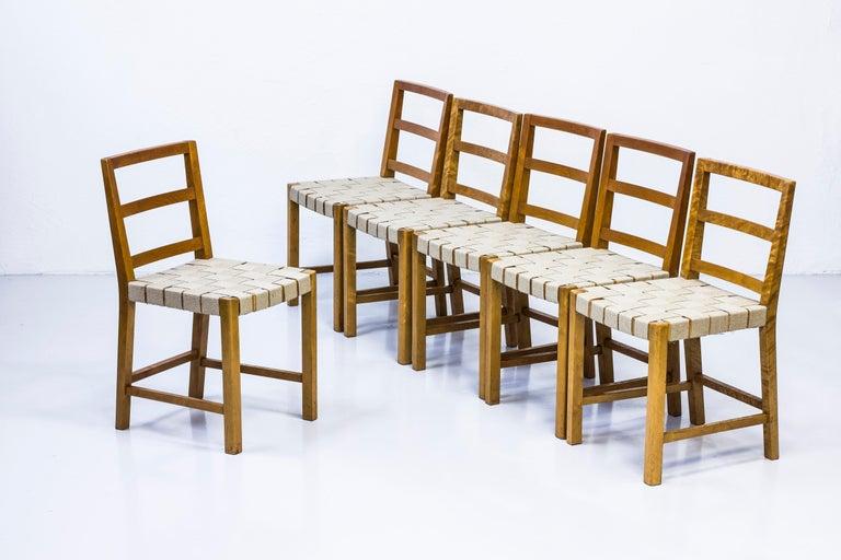 Scandinavian Modern Set of Six Chairs by Uno Åhren for Gemla Fabrikers AB, Sweden, 1930s For Sale