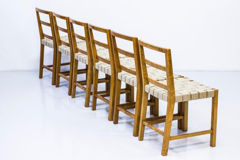 Swedish Set of Six Chairs by Uno Åhren for Gemla Fabrikers AB, Sweden, 1930s For Sale
