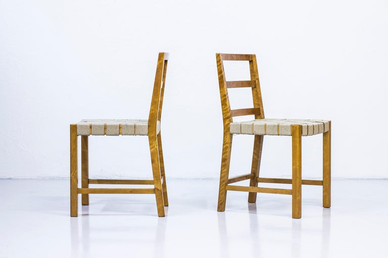 Set of Six Chairs by Uno Åhren for Gemla Fabrikers AB, Sweden, 1930s In Good Condition For Sale In Stockholm, SE