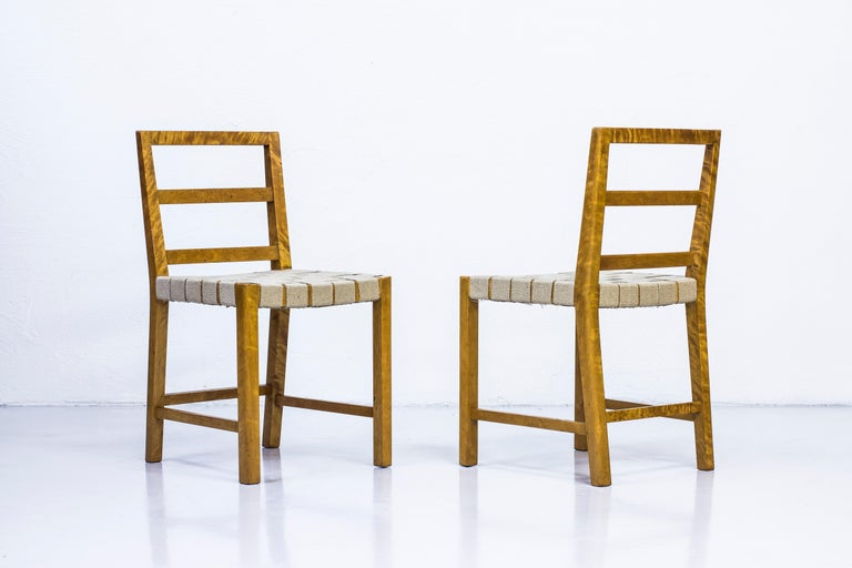 Mid-20th Century Set of Six Chairs by Uno Åhren for Gemla Fabrikers AB, Sweden, 1930s For Sale