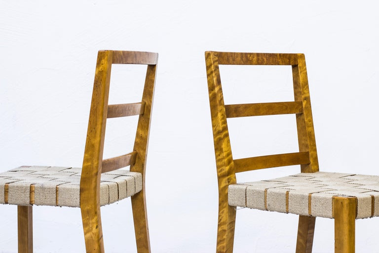 Sheepskin Set of Six Chairs by Uno Åhren for Gemla Fabrikers AB, Sweden, 1930s For Sale