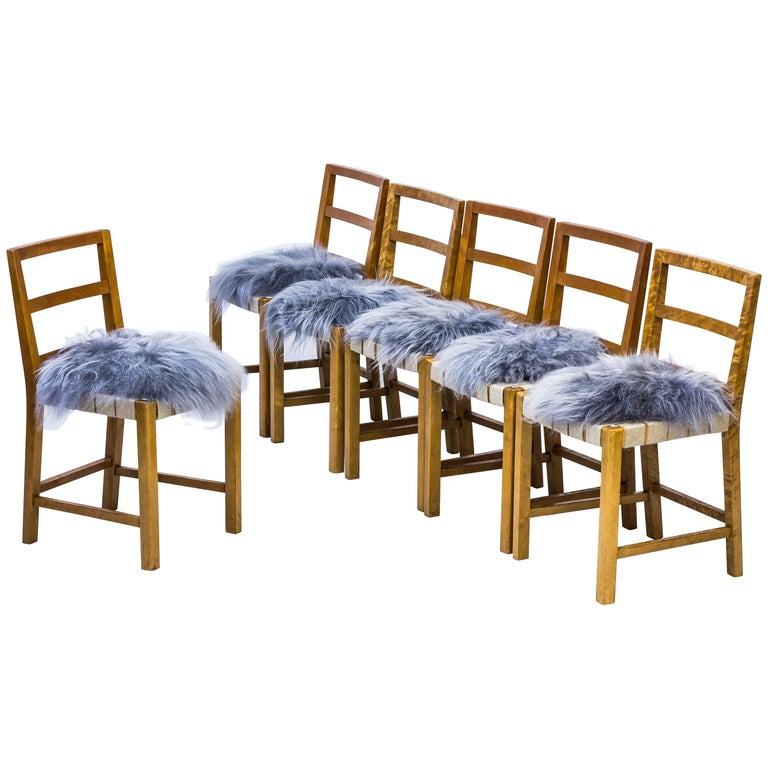 Set of Six Chairs by Uno Åhren for Gemla Fabrikers AB, Sweden, 1930s For Sale