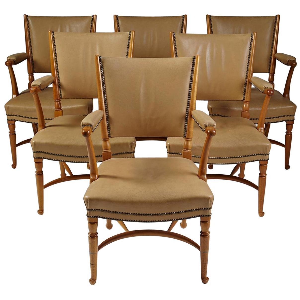 Set of Six Chairs Designed by Josef Frank for Svensk Tenn, Model 725, Sweden