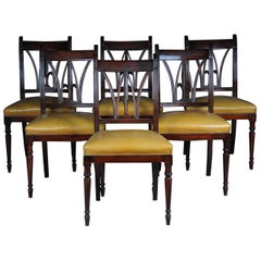 Set of Six Chairs England Victorian 20th Century, Mahogany, Leather