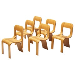Set of Six Chairs in Ashwood by Gigi Sabadin, Italy, 1970s