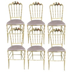 Set of Six Chairs in Turned and Polished Brass, Chiavari, Italy, circa 1960